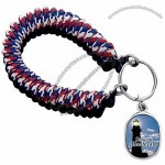Wrist coil key chain featuring a photo image fob, includes a split key ring
