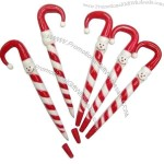 Xmas Snowman Candy Cane ballpoint pen is a candy cane shape with a snowman face.
