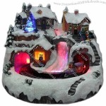 Xmas Village/Christmas Craft with Rolling Train and Fiber River