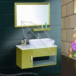 Yellow Bathroom Cabinet With Clean Ceramic Top, Simple Wooden Design