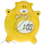 Yellow Bear Design Durable Plastic LCD Display Cartoon Clock