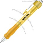 Yellow - Click action ballpoint pen with matte silver trim.