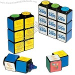 Yellow highlighter in the shape of mini Rubik's(R) cube puzzle.