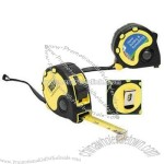 Yellow overseas 16' tape measure with black accents and rubber strip accents.