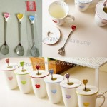Zakka Heart-Shaped Lid With Spoon Ceramic Mug